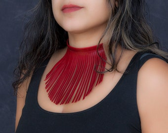 Red Fringe Necklace, Red Leather Choker, Statement Necklace, Red Choker Necklace