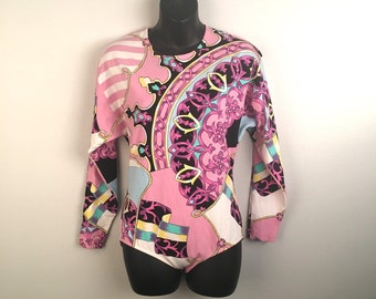 Colorful Cotton Lycra Onesie Bodysuit 80s 90s Vintage Pink Designer Style Bold Print Long Sleeve Blouse Women Snap Crotch Top Shirt Medium
