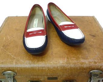 1980s Red white and Blue Trotters Penney Loafers