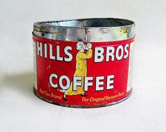 Vintage Hills Bros Coffee Tin - Coffee Can - Red & Yellow