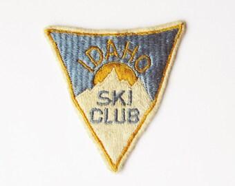 1950s Idaho Ski Club Embroidered Patch - Ski Jacket Patch - Vintage Skier's Patch