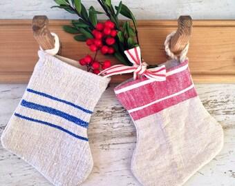 Grain Sack Stocking Ornament  Mini Christmas Stocking Christmas Tree Ornament Farmhouse Christmas Decor  FREE SHIPPING