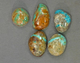 Turquoise cabochons lot Kingman and assorted mines,  B-151