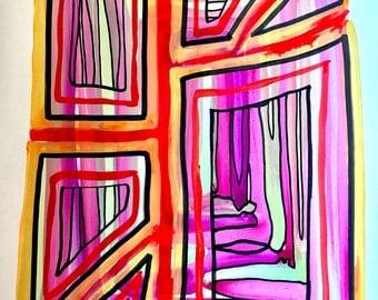 Abstract lines magenta original art painting