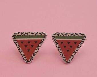 CLEARANCE Watermelon Earrings // Tropical Earrings // Confetti Print Earrings // Geometric Earrings // Graphic Earrings // Memphis Modern Ea