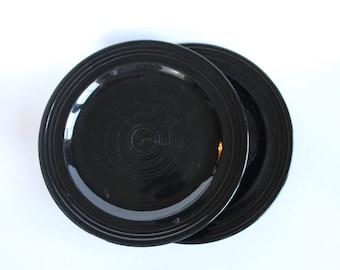 Vintage 1940s Black Ringware California Pottery Dinner Plates set of 2!
