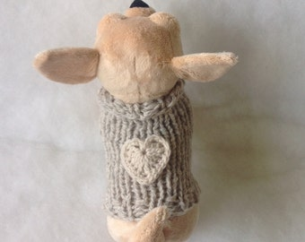 Puppy chihuahua coat eco cashmere 100% Precious chihuahua sweater Eco Cashmere made in Italy Handmade small dog sweater with beige heart