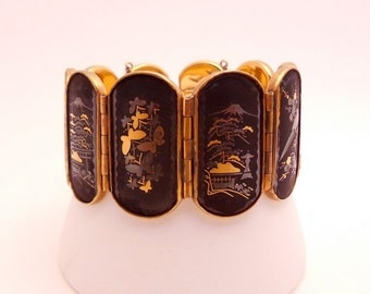 Vintage Damascene Bracelet by Amita Japan 1950s