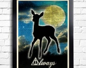 Harry Potter Always Quote Deathly Hallows Potter POSTER Deer Expecto Patronum Print on DICTIONARY Paper Kid Room Decor Book Page print 006
