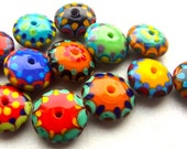 Happy Discs - Handmade Lampwork Glass Beads (12) by Anne Schelling, SRA