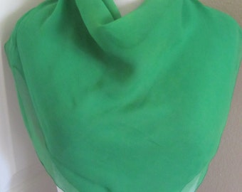 """Lovely Solid Green Sheer Silk Scarf // 28"""" Inch 70cm Square"""