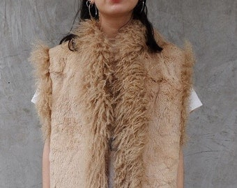 Vtg RABBIT LAMB Combo FUR Vest