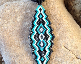 Turquoise Black and Gunmetal Southwest Peyote Beaded Necklace