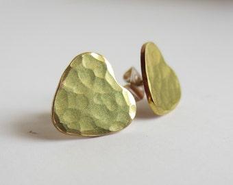 Heart Earrings Hammered Brass Tiny Heart Stud Earrings Sterling Silver Post Earrings Valentine's Day Gift for Her