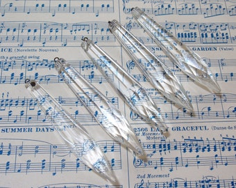 Long Faceted Chandelier Crystals Prisms for Repair Jewelry and More Set of 5
