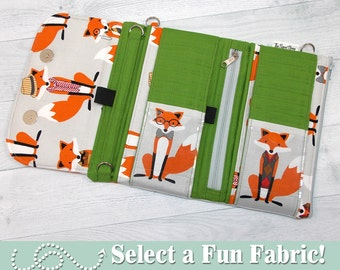 Custom Wallet • Cell Phone Wristlet Wallet • DOUBLE ZIP WRISTLET Wallet • iPhone • Samsung • Select Your Fabric • Fun Foxes