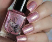 """Nail polish - """"Another Time"""" Light pink linear holographic polish with shimmer and holo glitter"""