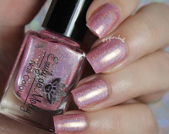 "Nail polish - ""Another Time"" Light pink linear holographic polish with shimmer and holo glitter"