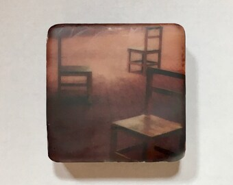 Encaustic on Handmade Cast Adobe Tile - Chairs