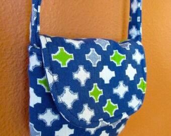 Emily #44  Cross Body Bag, Little Purse, Little Bag, Small Purse,  Bags, Purses, Upholstery Fabric Bag, Blue and Green Bag, Shoulder Purse,