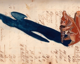 ORIGINAL PAINTING Vintage Wood Carved Squirrel in Gouache