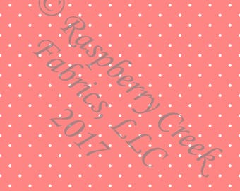 Coral and White Pin Polka Dot 4 Way Stretch Jersey Knit Fabric, Club Fabrics PRE-ORDER