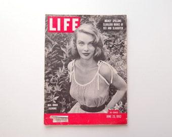 1950s Life Magazine June 23, 1952 Mail Order Fashions Mickey Spillane Pulp Novelist Japan Abstract Art Lincold Eisenhower antique fabrics