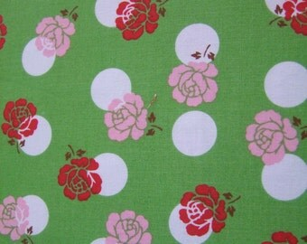 Green Pink Red Rose Fabric by the Yard Sew Cherry Lori Holt