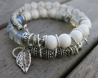 Silver Leaf Memory Wire Bracelet