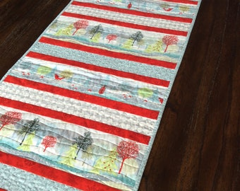 """Handmade Quilted Table Runner - 17"""" x 66"""" - Christmas - Table Linen - Homemade - Cotton"""