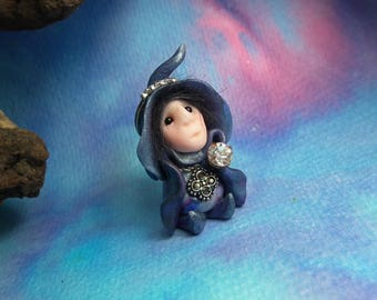"""Tiny 'Hildenn' Witch Queen Gnome with jewels 1+1/2"""" by Sculpture Artist Ann Galvin Art Doll"""