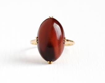 Vintage 18k Yellow Gold Red Brown Tiger's Eye Quartz Japanese Ring - Retro Size 6 1/4 Oval Gem Cabochon K18 Japan Fine Statement Jewelry