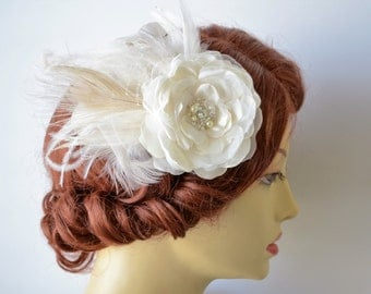 Bridal Couture Ivory Flower Feather Fascinator, Flower with Ivory Tulle and French Netting,Swarovski rhinestones and crystal Hair Flower