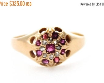 JAN SALE Antique Ladies Ruby Diamond Engagement Ring 1930s Vintage Cluster 18ct 18k 750 Yellow Gold | FREE Shipping | Size N / 6.75