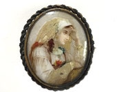 RESERVED BALANCE Antique Hand Painted Eggshell Brooch Portrait Miniature Brooch circa 1880-1890 with C Clasp