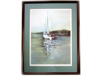 Fine Art Watercolor Print Jay Vaughan Marine Sailboat Signed Print