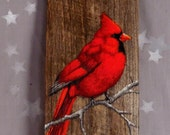 """Hold for Mary Miller Beautiful Cardinal, Ozarks barnwood, rustic, hand painted 5 1/2"""" x 11 3/4"""""""