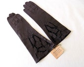Vintage Florence Italy Leather Gloves in Black with Tags from Stanganini Ties & Gloves