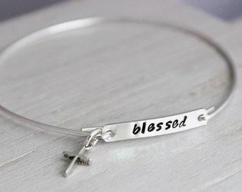 blessed handstamped sterling bracelet, inspirational faith gift for her, word of the year, slip on stacking bracelet, simple cross bracelet