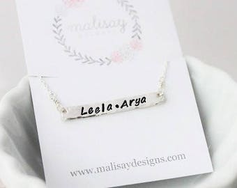 horizontal stamped bar necklace, stamped names mothers necklace, personalized name tag necklace, delicate simple everyday jewelry,