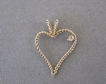 Twisted Heart Pendant -- Solid 14K Gold with Cubic Zirconium