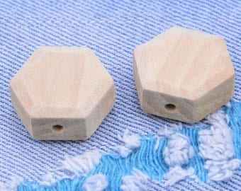 10Pcs Unfinished wooden beads, Natural hexagon wood bead, Handmade Wood bead 21mm