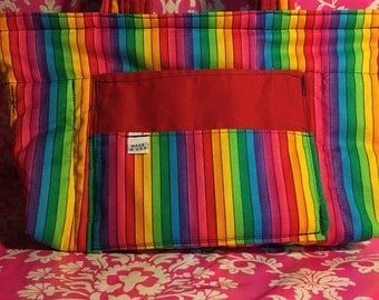 Rainbow - Purse - Cotton - Yellow Zipper - 2 Pockets - 2 Handle - Made in U.S.A.