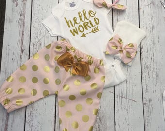Newborn Girl Take home Outfit. Newborn Girl. Newborn Outfit. Hello World Onesie ®. Baby Girl Outfit. Gold Glitter.  Baby take home outfit