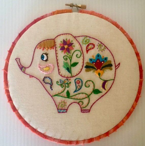 Whimsical Elephant Hand Embroidered Hoop Art