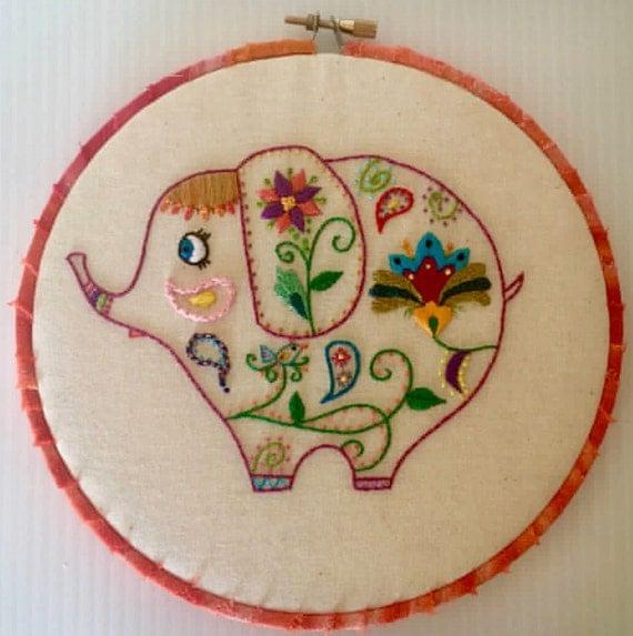 Whimsical Elephant Hand Embroidered Hoop Art, Wall Art, Thread Art, Hand Embroidered