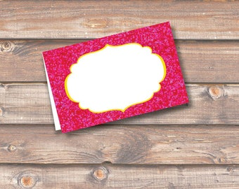 """Hot Pink Glitter Place Cards Printable Food Tags or Placecards Fuchsia Bright Pink Menu Place Card 3.5 x 2.25"""" Tent-Style - INSTANT DOWNLOAD"""