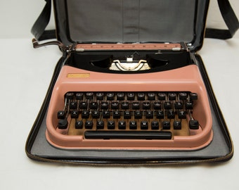 Vintage Rare 1960s Antares Domus Pink & Black Manual Typewriter with Faux Leather Carrying Case - WORKS! - Made in Italy