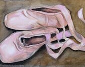 Original Ballet Pointe Shoes watercolor on paper. 5x10 inches, ballet art, toe shoes, pointe ballet art, dance art