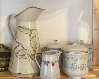 Unique French Country Graniteware Enamelware Body Pitcher